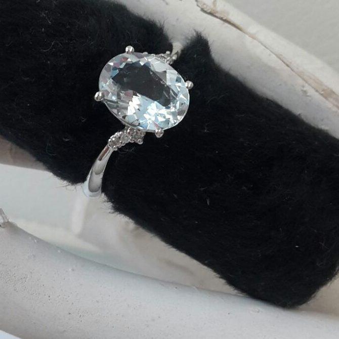 anello acqua marina diamante