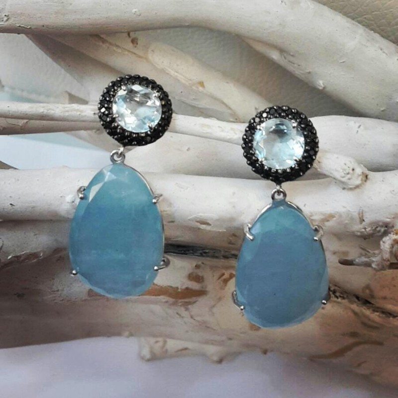 orecchini acquamarina diamante