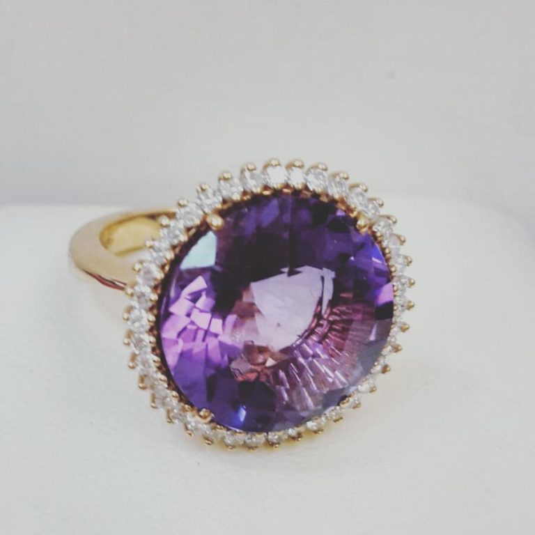anello oro rosa e ametista