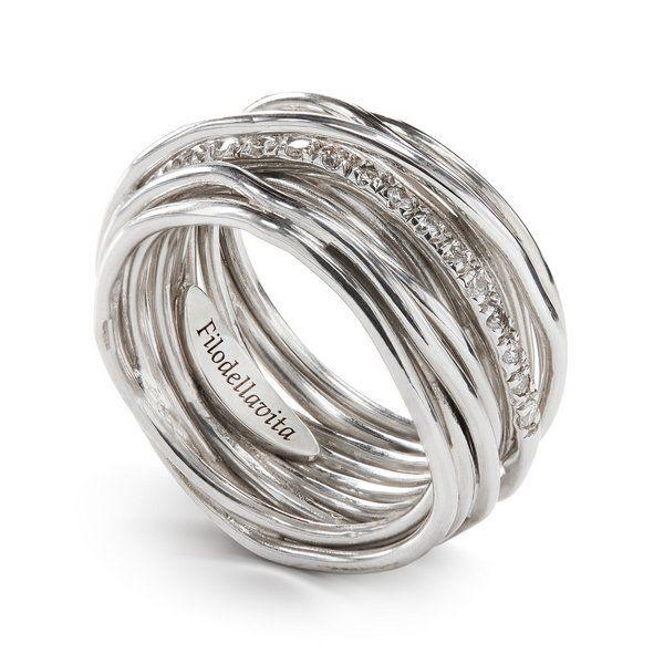 anello filo della vita diamanti bianchi