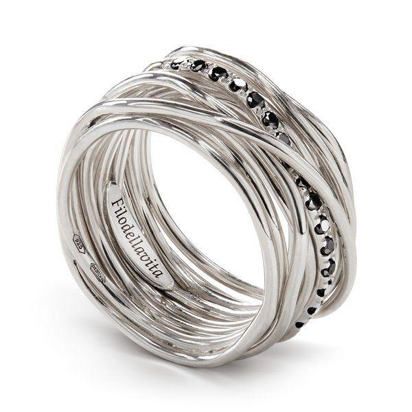 anello filo della vita diamanti neri