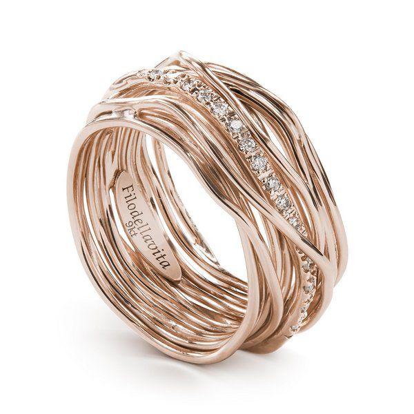 Anello filodellavita oro rosa e diamanti bianchi 13 fili