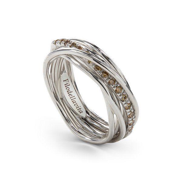 anello filo della vita diamanti marroni