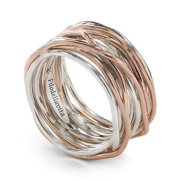 anello filodellavita oro rosa e argento