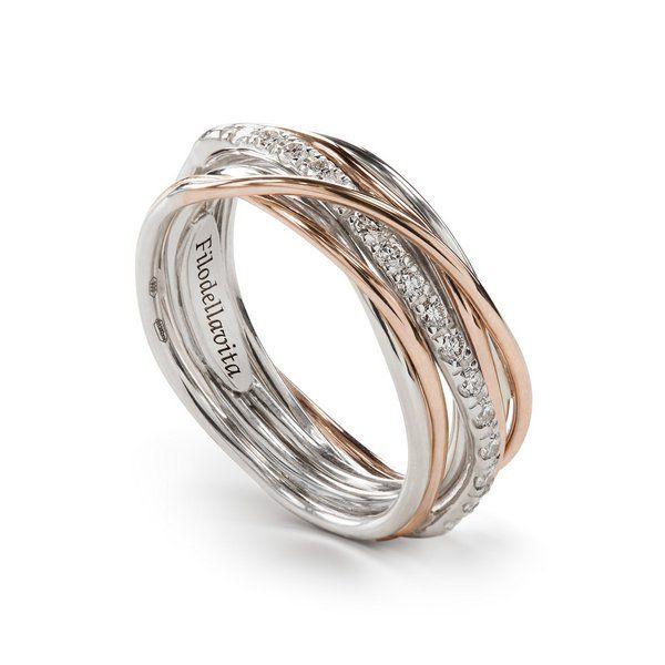 anello filodellavita oro rosa e diamanti bianchi 7 fili