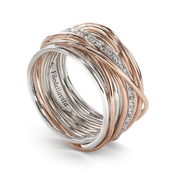 anello filodellavita oro rosa e diamanti bianchi